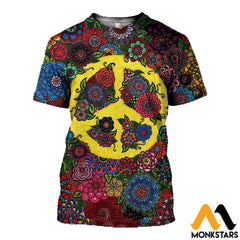 3D All Over Printed Peace Hippies Shirts And Shorts T-Shirt / Xs Clothes