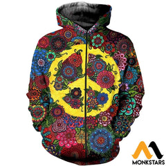 3D All Over Printed Peace Hippies Shirts And Shorts Zipped Hoodie / Xs Clothes