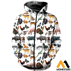 3D All Over Printed Pet Animals Shirts And Shorts Zipped Hoodie / Xs Clothes