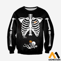 3D All Over Printed Pregnant Skeleton Shirts And Shorts Long-Sleeved Shirt / Xs Clothes