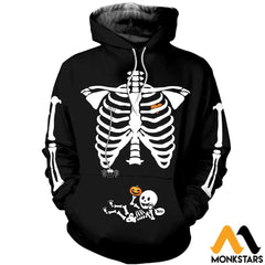 3D All Over Printed Pregnant Skeleton Shirts And Shorts Normal Hoodie / Xs Clothes