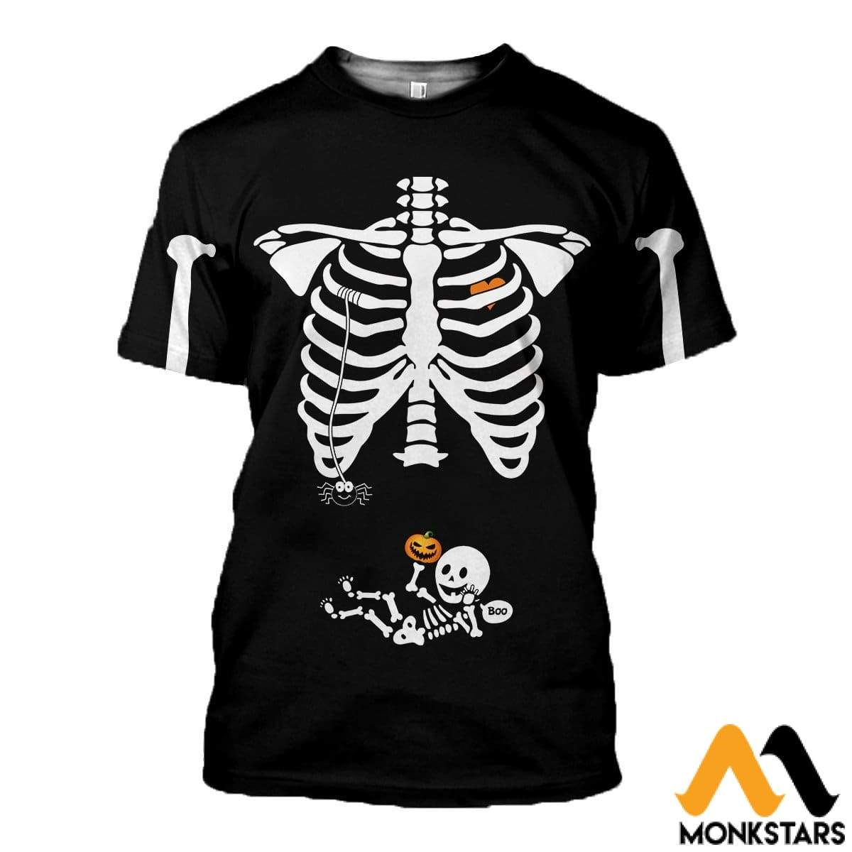 3D All Over Printed Pregnant Skeleton Shirts And Shorts T-Shirt / Xs Clothes