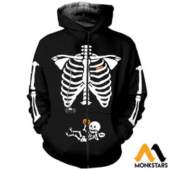 3D All Over Printed Pregnant Skeleton Shirts And Shorts Zipped Hoodie / Xs Clothes
