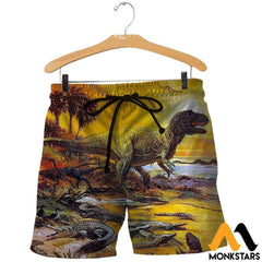 3D All Over Printed Prehistoric Animals Shirts And Shorts / Xs Clothes