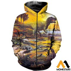 3D All Over Printed Prehistoric Animals Shirts And Shorts Zipped Hoodie / Xs Clothes