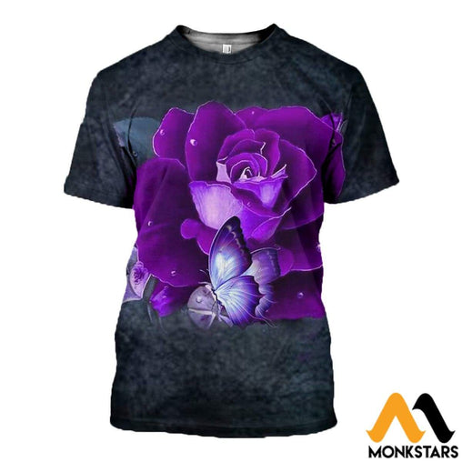3D All Over Printed Purple Rose And Butterfly Clothes T-Shirt / Xs