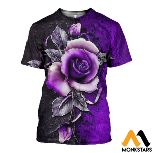 3D All Over Printed Purple Rose Clothes T-Shirt / Xs