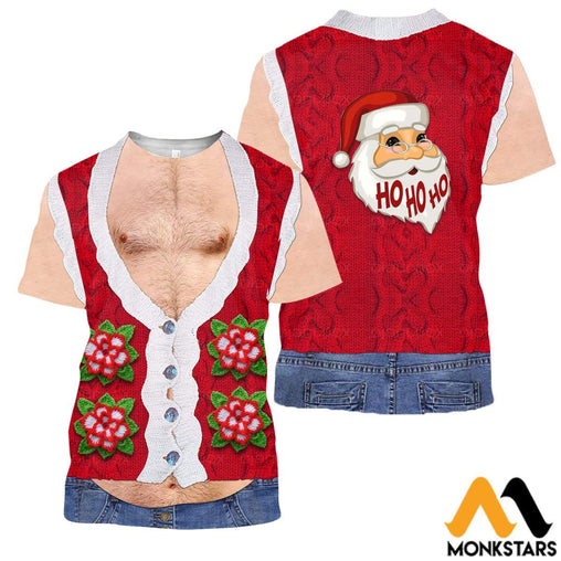 3D All Over Printed Real Mens Hairy Ugly Christmas Shirts And Shorts T-Shirt / Xs Clothes