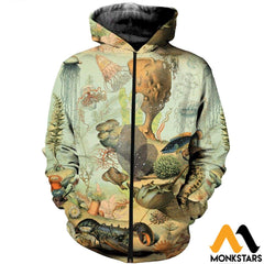 3D All Over Printed Sea Creatures Shirts And Shorts Zipped Hoodie / Xs Clothes