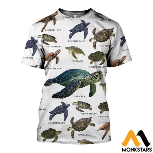 3D All Over Printed Sea Turtles Of The World Shirts And Shorts T-Shirt / Xs Clothes