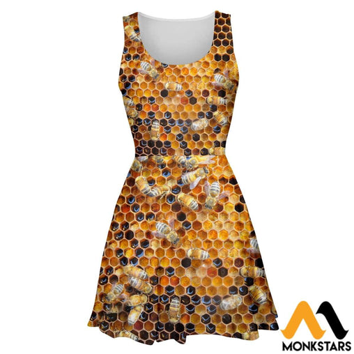 3D All Over Printed Skater Dress - Black And Yellow Beehive