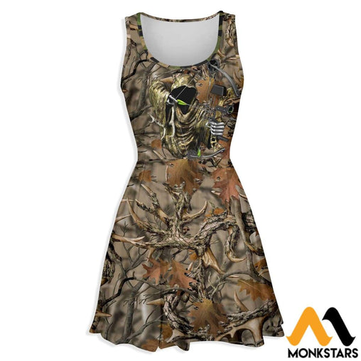 3D All Over Printed Skater Dress - Bowhunting Camo