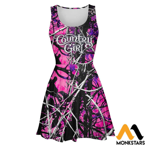 3D All Over Printed Skater Dress - Country Girl Camo