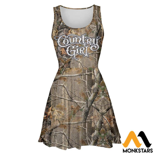 3D All Over Printed Skater Dress - Country Girl Camo S