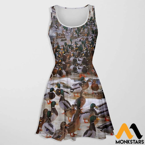 3D All Over Printed Skater Dress - Duck Hunting S