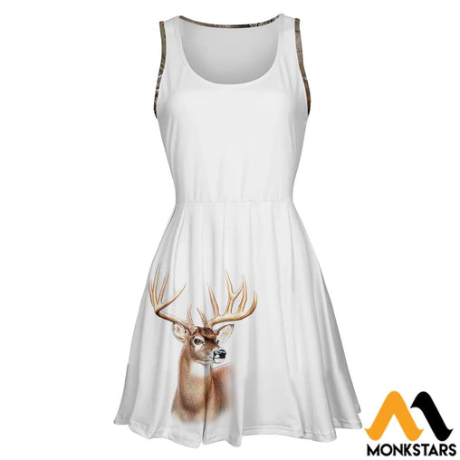 3D All Over Printed Skater Dress - Love Deer Camo S