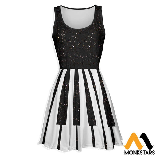 3D All Over Printed Skater Dress - Piano
