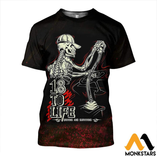 3D All Over Printed Skull Driver Shirts And Shorts T-Shirt / Xs Clothes