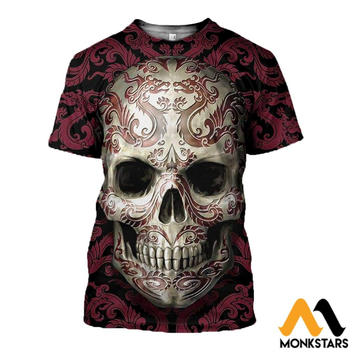 3D All Over Printed Skull Pattern Tops T-Shirt / Xs Clothes