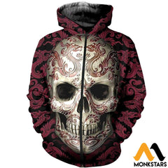 3D All Over Printed Skull Pattern Tops Zipped Hoodie / Xs Clothes