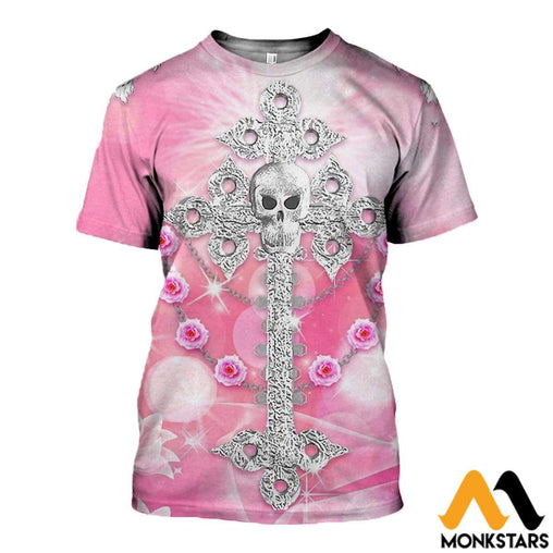 3D All Over Printed Skull Pink Background Clothes T-Shirt / Xs