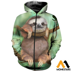 3D All Over Printed Sloth Baby Tops Zipped Hoodie / Xs Clothes