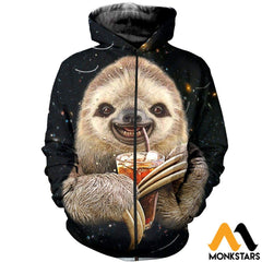 3D All Over Printed Sloth Shirts And Shorts Zipped Hoodie / Xs Clothes