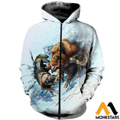 3D All Over Printed Snow Hunting Boar Shirts And Shorts Zipped Hoodie / Xs Clothes