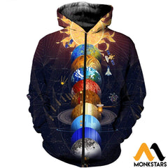 3D All Over Printed Solar System Shirts And Shorts Zipped Hoodie / Xs Clothes