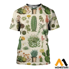 3D All Over Printed Succulent Shirts And Shorts T-Shirt / Xs Clothes