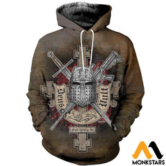 3D All Over Printed Symbol Of The Templar Knights Shirts And Shorts Normal Hoodie / Xs Clothes