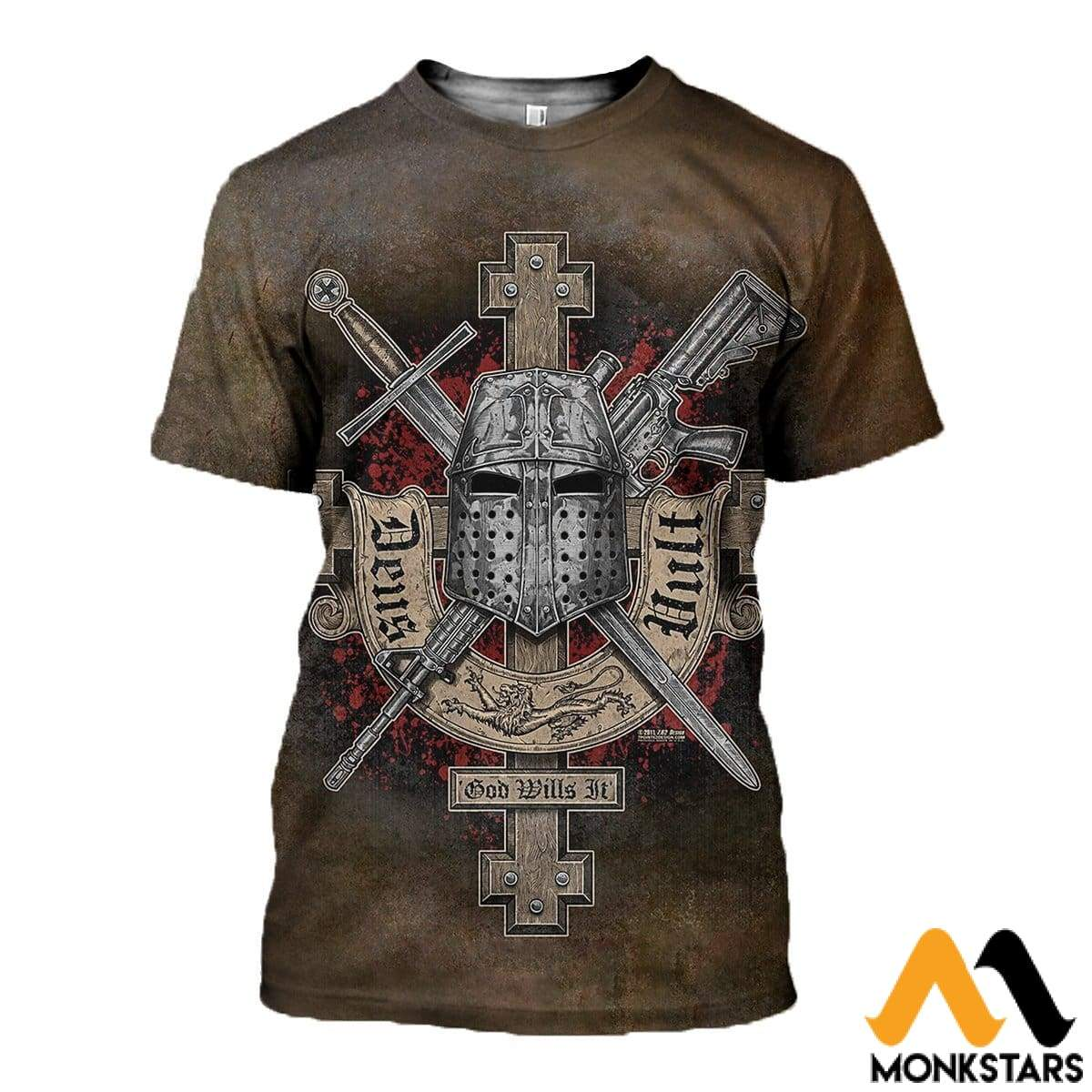 3D All Over Printed Symbol Of The Templar Knights Shirts And Shorts T-Shirt / Xs Clothes