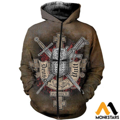 3D All Over Printed Symbol Of The Templar Knights Shirts And Shorts Zipped Hoodie / Xs Clothes