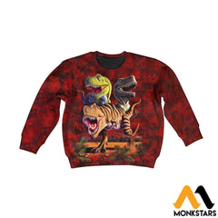 3D All Over Printed T-Rex Collage Shirts And Shorts Long-Sleeved Shirt / Toddler 2T Kid Clothes