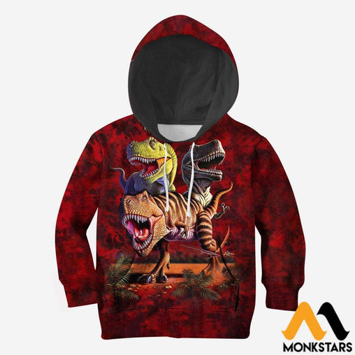 3D All Over Printed T-Rex Collage Shirts And Shorts Normal Hoodie / Toddler 2T Kid Clothes