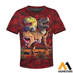 3D All Over Printed T-Rex Collage Shirts And Shorts T-Shirt / Toddler 2T Kid Clothes
