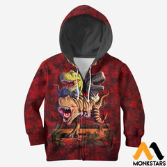 3D All Over Printed T-Rex Collage Shirts And Shorts Zipped Hoodie / Toddler 2T Kid Clothes