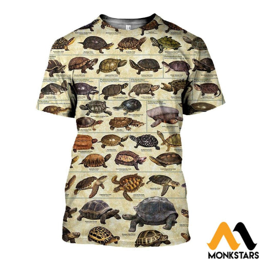 3D All Over Printed Terrapins Turtles & Tortoises Shirts And Shorts T-Shirt / Xs Clothes