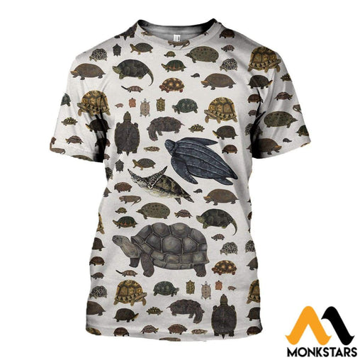 3D All Over Printed Testudines Clothes T-Shirt / Xs