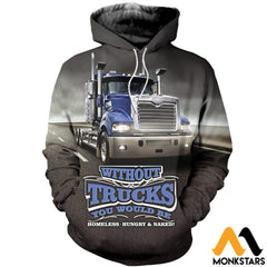 3D All Over Printed Truck In Road Clothes Normal Hoodie / Xs