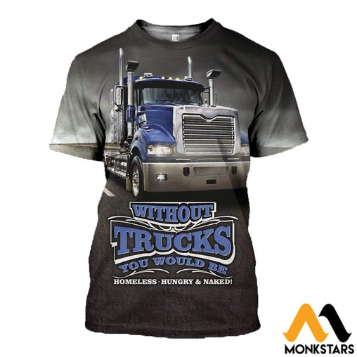 3D All Over Printed Truck In Road Clothes T-Shirt / Xs