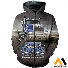 3D All Over Printed Truck In Road Clothes Zipped Hoodie / Xs