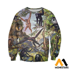 3D All Over Printed Type Of Primate Shirts And Shorts Long-Sleeved Shirt / Xs Clothes