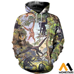 3D All Over Printed Type Of Primate Shirts And Shorts Normal Hoodie / Xs Clothes