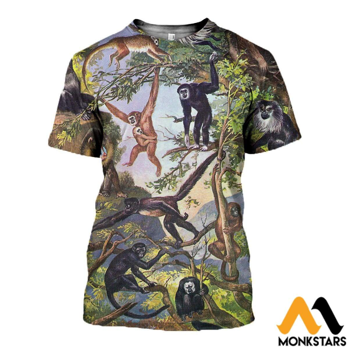 3D All Over Printed Type Of Primate Shirts And Shorts T-Shirt / Xs Clothes