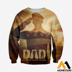 3D All Over Printed Veteran Father Tops Long-Sleeved Shirt / Xs Clothes