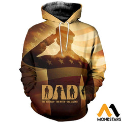 3D All Over Printed Veteran Father Tops Normal Hoodie / Xs Clothes