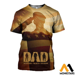 3D All Over Printed Veteran Father Tops T-Shirt / Xs Clothes