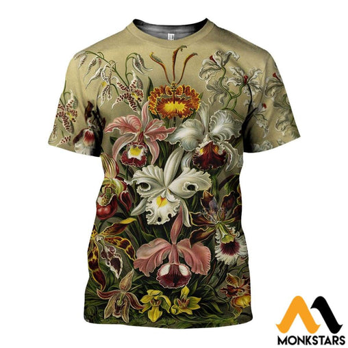 3D All Over Printed Vintage Flowers Shirts And Shorts T-Shirt / Xs Clothes
