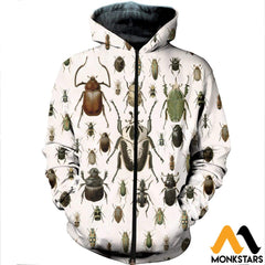 3D All Over Printed Vintage Insect Shirts And Shorts Zipped Hoodie / Xs Clothes